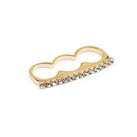 FOREVER 21 Rhinestoned Three-Finger Ring Gold/Clear