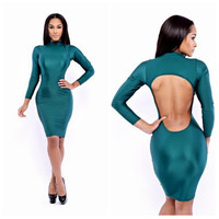 Teal Cut-Out Back Long Sleeve Casual Bodycon Dress