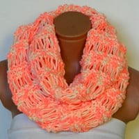 Knitted infinity Scarves Block Infinity Scarf.Cozy scarf, Loop Scarf, Circle Scarf, Neck Warmer. multi-color Crochet Infinity