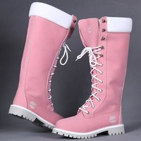 Timberland Women Leather Lace-Up Waterproof Boots Shoes-7