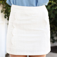 Scallop Dreams Skirt - Ivory