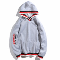 PALACE 2018 autumn and winter tide brand embroidery letters men and women models hooded sweater grey