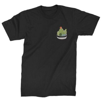 Embroidered Cactus Succulents Patch (Pocket Print) Mens T-shirt