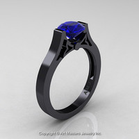 Modern 14K Black Gold Luxurious and Simple Engagement Ring or Wedding Ring with a 1.0 Ct Blue Sapphire Center Stone R668-14KBGBS