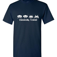 Classically Trained Video Game T Shirt Old School Graphics On Video Games Great Geek Gamers Nerd School Gamer Tee Christmas Tshirt