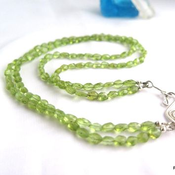 Peridot Gemstone Double Strand Necklace, Gift for Her
