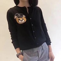 MOSCHINO Women Fashion Cute Bear Wool Top Sweater Cardigan