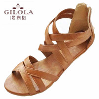 GILOLA new women sandals women shoes spring summer shoes black brown best quality #Y0508616F