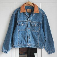 TIMBERLAND Denim Jacket Leather Jeans Classic Medium Blue Indigo Camel Brown Vintage 9