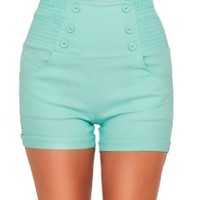 High Waisted Sophisticated Trendy Chic Front Button Vintage Inspired Shorts:Amazon:Clothing