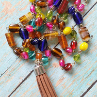 Boho Tassel Rosary / Rosary Style Jewelry / Boho Glam Necklace / Mixed Metal Necklace / Boho Beaded Necklace / Suede Tassel Jewelry