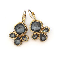 Two Of A Kind Crystal Earrings In Grey