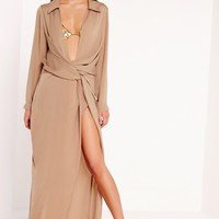 Missguided - Wrap Front Shirt Maxi Dress Nude
