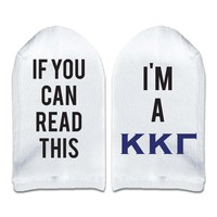 If You Can Read This... I'm a Kappa Kappa Gamma Sorority Women's No Show Socks Printed with Text on Sole