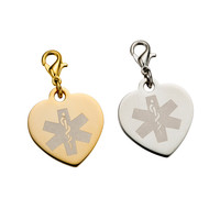 Polished Silver and Gold Engraved Heart Bracelet Charm