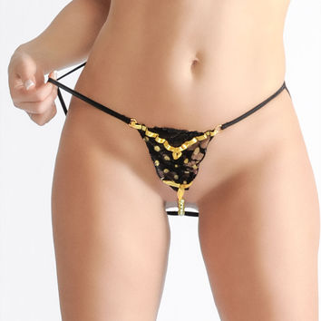 Crotchless G-string Panties with Faux Yellow Pearls Lingerie Sexy Panties