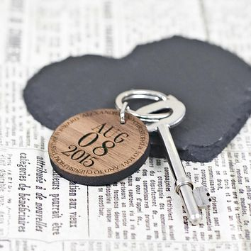 Cute Keychains Custom Special Date Keyring - Circular Message Design