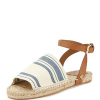 Stretch-Canvas Espadrille Sandal, Awning Ivory/Blue - Tory Burch - Awning ivory-blue