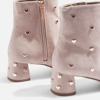 BEE Heart Stud Ankle Boots