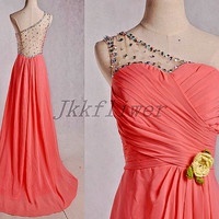 Long Coral One Shoulder Backless Prom Dresses,See Through Back Homecoming Dresses,Chiffon Bridesmaid Dresses