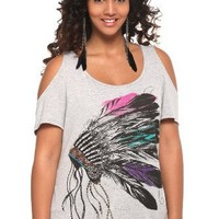 Torrid Plus Size Crafty Couture - Heather Grey Headdress Cold-Shoulder Tee