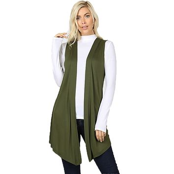 Women Draped Flowy Lightweight Jersey Casual Layering midi Length Cardigan Vest -Sleeveless and Long Sleeves