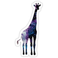 'Watercolor galaxy in giraffe' Sticker by Cordata