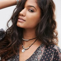 ASOS Western Leather Cord Disc Multirow Choker Necklace at asos.com