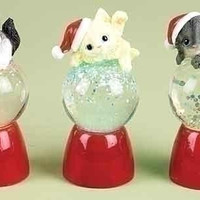 12 Kitten Snowglobes - Battery Operated - Batteries Included