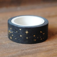 Black and Gold Foil Stars and Moon Washi tape