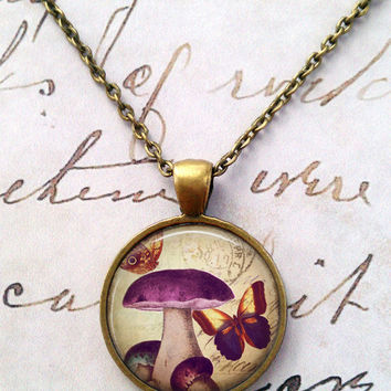 Mushroom Necklace, Science, Mycology, 70s, Whimsical, Nature, Vintage, Shabby Chic, Geek T1005