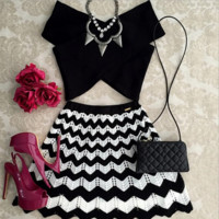 bandage crossover v-neck two-piece outfit
