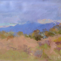 Impressionist Landscape Painting Fall  - Blue Mountains Painting - Modern Canvas Art