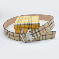 BURBERRY Men Woman Fashion Smooth Buckle Belt Leather Belt-6