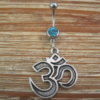Belly Button Ring - Body Jewelry - Silver Om Symbol with Light Blue Gem Stone Belly Button Ring
