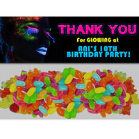 Neon Glow Party Bag Toppers - Glow Birthday Party Tags - Glow Party Favors - Girl Glow Birthday - Pink Glow Party - Goody Bags Topper Blue