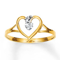 Heart Ring Rhodium Accents 14K Yellow Gold