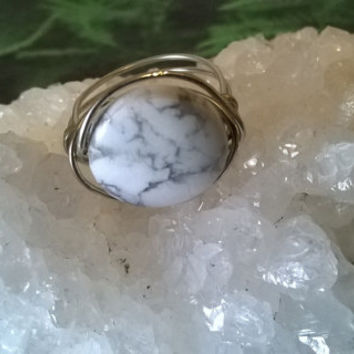 natural White Howlite ring artisan wire wrapped stone ring gemstone handmade crystal jewelry silver or gold