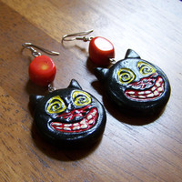 Vintage Style Black Cat Halloween Earrings