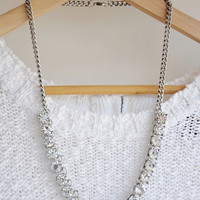 Mini Clear Jewel Bling Crystal Statement Necklace / Anthropologie Necklace / Chunky Statement / Bib Necklace / Jcrew Necklace