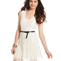 American Rag Juniors Dress, Sleeveless Belted Lace