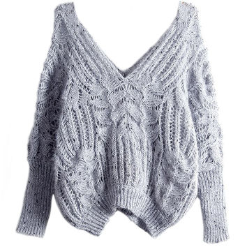 Grey Double V-neck Open Knitted Sweater