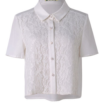 Short Sleeved Lace Embroidered Button Down Chiffon Shirt