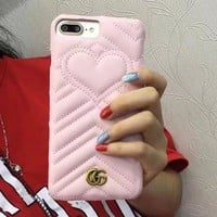 Gucci New cortical silica gel phone case loving heart  iPhone 7 plus shell iPhone 6 s mobile couple phone shell Pink