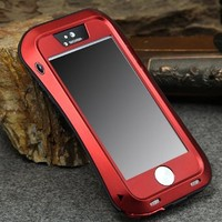 Novelty Newest metal extreme shockproof case for apple iphone5s military heavy duty case for iphone5 5S full 360 protective metal case with Corning gorilla glass (Red)