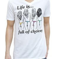 Life is Full of Choices Vintage Inspired V-Neck - Men's Tops - Short Sleeve - Junk Food Clothing