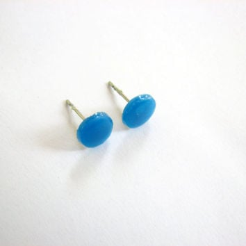 Electric Blue Stud Earring, Translucent Blue Studs Unisex Jewelry  Mens Stud Jewelry,  Small Blue Earrings