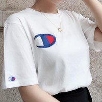Champion Summer Fashion Women Men Comfortable Embroidery Short Sleeve Pure Cotton Lovers T-Shirt Top White I13131-1