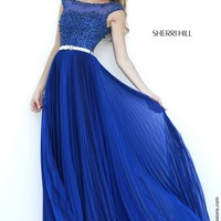 Sherri Hill 32131 Cap Sleeve Chiffon Prom Dress