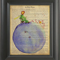 The Little Prince sitting on the earth -  Printed on The Little Prince  page  -  250Gram paper.